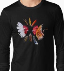 Two fighting cocks and feathers Long Sleeve T-Shirt
