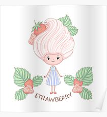 Strawberry ice cream girl Poster
