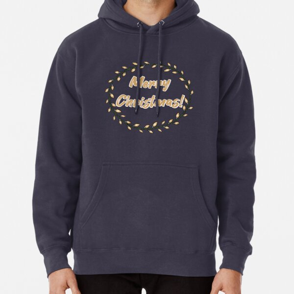 Words Merry Christmas with light bulbs circle frame Pullover Hoodie