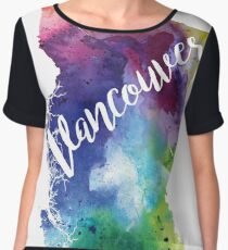 British Columbia Watercolor Map - Vancouver Hand Lettering  Chiffon Top