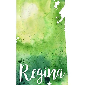 Saskatchewan Watercolor Map - Regina Hand Lettering  by AndreaHill