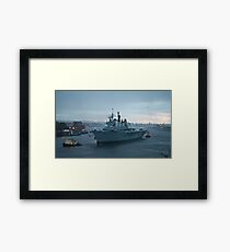 Ark Royal departs the Tyne for the last time Framed Print