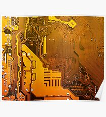 ocher electronic circuit board Poster