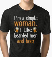 I'm A Simple Woman I Like Bearded Men And Beer Tri-blend T-Shirt