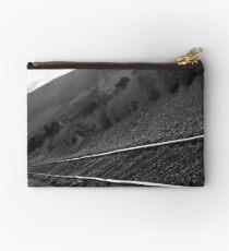 Railroad Tracks Down The Line Black and White Studio Pouch
