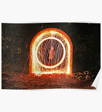Urban sparks with steel wool Poster