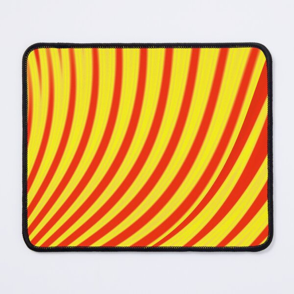 Abstract print  geometric  design with colorful gradient stripes and waves, red, yellow Mouse Pad