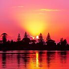 Magenta Sunrise over Water. Lake Macquarie, Australia. by sunnypicsoz