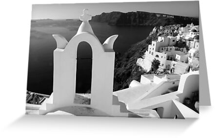 Overlooking the Caldera ~ Black & White by Lucinda Walter