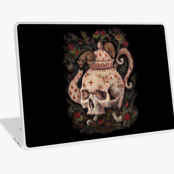 Melancholy Tea Party Surreal skull teapot painting Laptop Skin