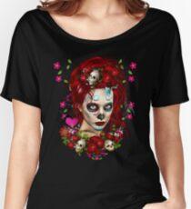 Sugar Doll Red Dia De Muertos Women's Relaxed Fit T-Shirt