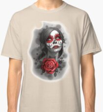 Day of the Dead Girl Red Makeup and Rose Pencil Sketch Classic T-Shirt