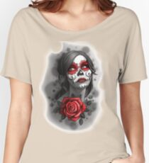 Day of the Dead Girl Red Makeup and Rose Pencil Sketch Women's Relaxed Fit T-Shirt