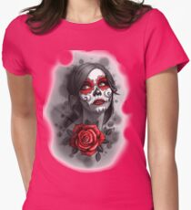 Day of the Dead Girl Red Makeup and Rose Pencil Sketch Womens Fitted T-Shirt