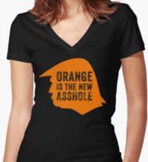 Orange is the new Asshole  Women's Fitted V-Neck T-Shirt