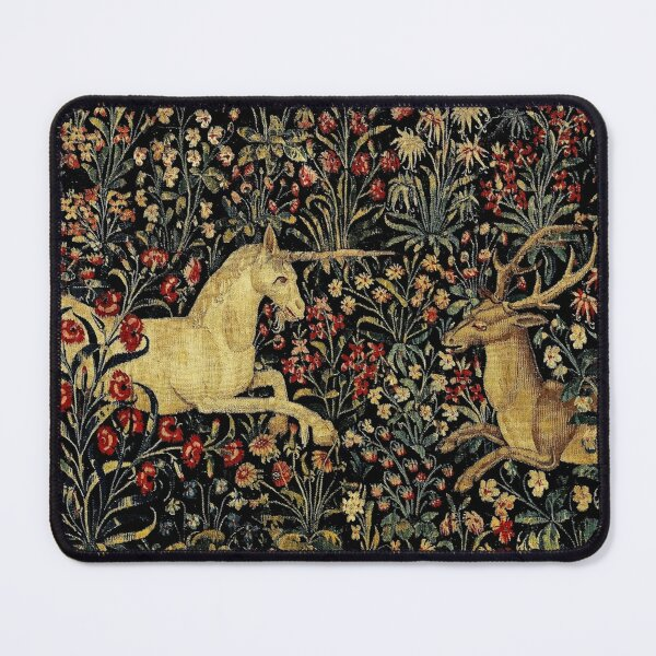 Medieval Unicorn Midnight Floral Tapestry Mouse Pad