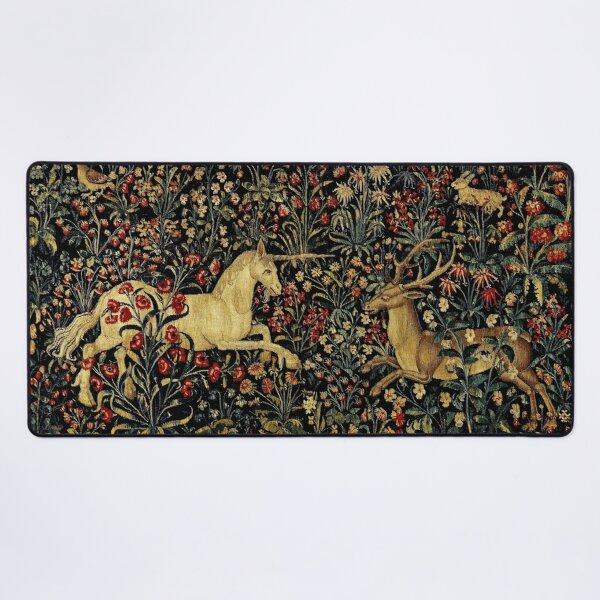 Medieval Unicorn Midnight Floral Tapestry Desk Mat