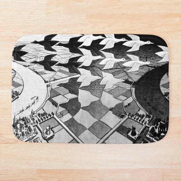 MC Escher Day and Night I 1938 Artwork for Posters Prints Tshirts Men Women Kids Bath Mat