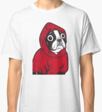 Boston Terrier in a Red Hoodie Classic T-Shirt