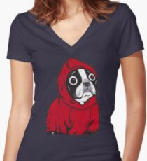 Boston Terrier in a Red Hoodie Women's Fitted V-Neck T-Shirt