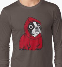 Boston Terrier in a Red Hoodie Long Sleeve T-Shirt