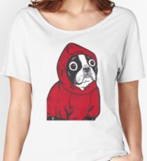 Boston Terrier in a Red Hoodie Women's Relaxed Fit T-Shirt