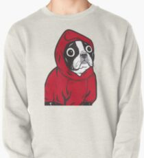 Boston Terrier in a Red Hoodie Pullover
