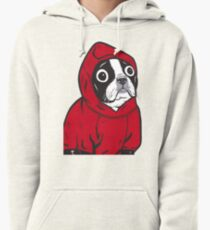Boston Terrier in a Red Hoodie Pullover Hoodie