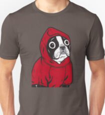 Boston Terrier in a Red Hoodie T-Shirt