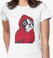 Boston Terrier in a Red Hoodie Women's Fitted T-Shirt