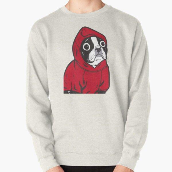 Boston Terrier in a Red Hoodie Pullover Sweatshirt