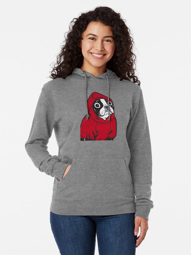Alternate view of Boston Terrier in a Red Hoodie Lightweight Hoodie