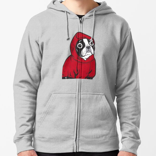 Boston Terrier in a Red Hoodie Zipped Hoodie