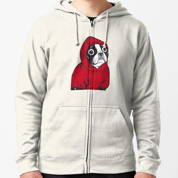 Boston Terrier in a Red Hoodie Zipped Hoodie