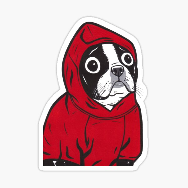 Boston Terrier in a Red Hoodie Sticker