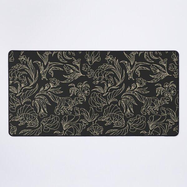 Elegant Floral Pattern - Hidden Dinosaurs - Black and Gold Desk Mat