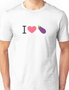 I Love Eggplant - by EmojiDaddy Unisex T-Shirt