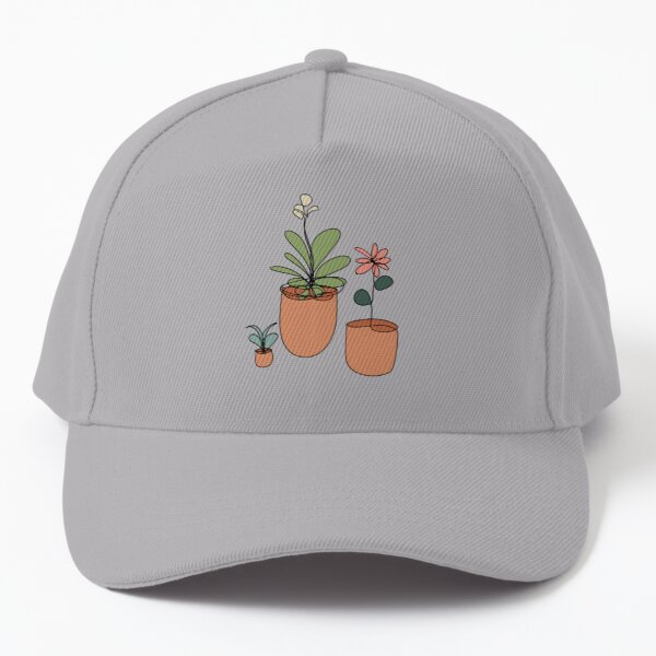 Trio of Line Art Flowers Baseball Cap