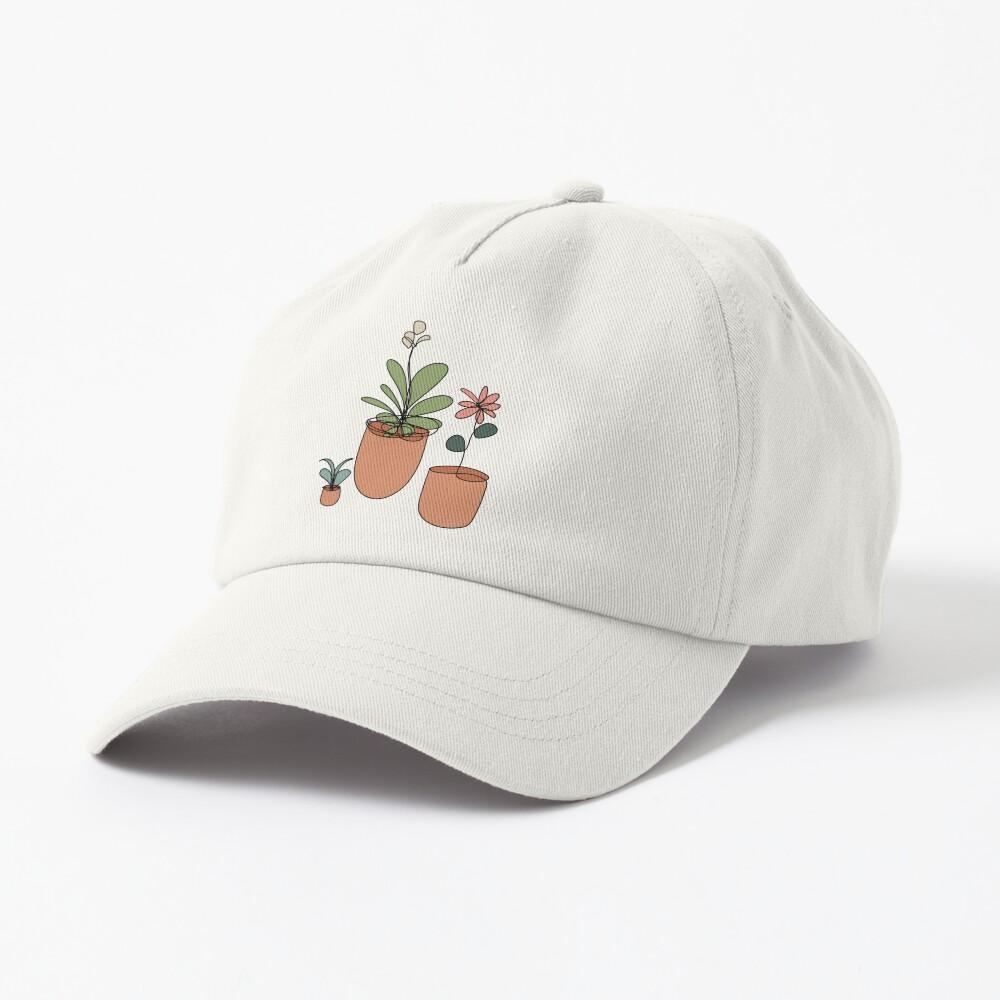 Trio of Line Art Flowers Cap