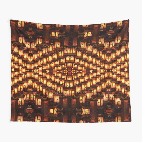 Golden Lantern Lights At Night Tapestry
