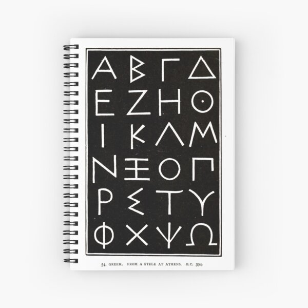 Vintage Greek Alphabet from Alphabets old and new, for the use of craftsmen (1910) Spiral Notebook