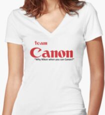 Team Canon! - why nikon when you can CANON. Women's Fitted V-Neck T-Shirt