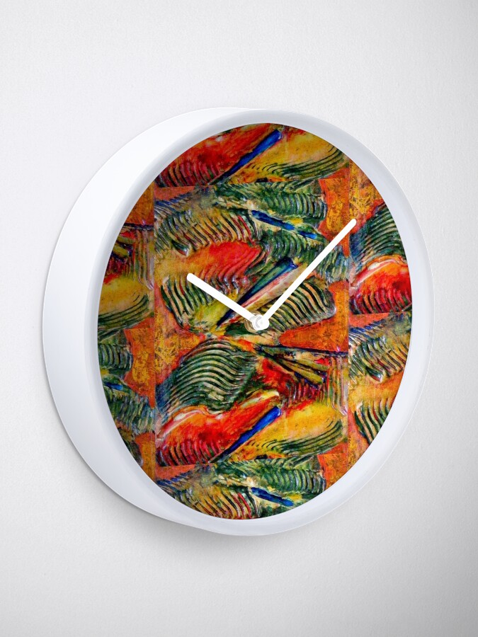 Alternate view of ABSTRACT RED AND GREEN SWIRLING PALM WAVES Clock
