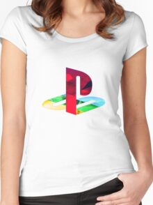 Playstation Logo Vaporwave Women's Fitted Scoop T-Shirt