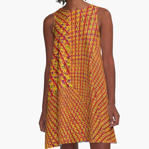 Orange Tweed Textured Dimension Design A-Line Dress
