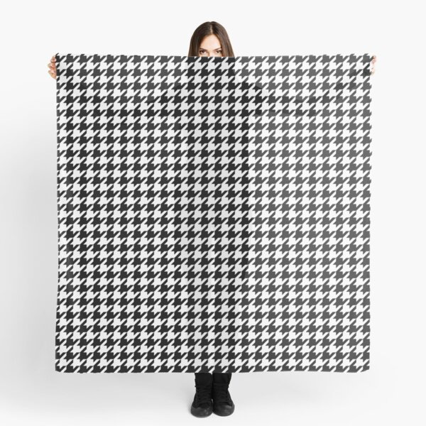 Houndstooth Black And White Checkered Scarf