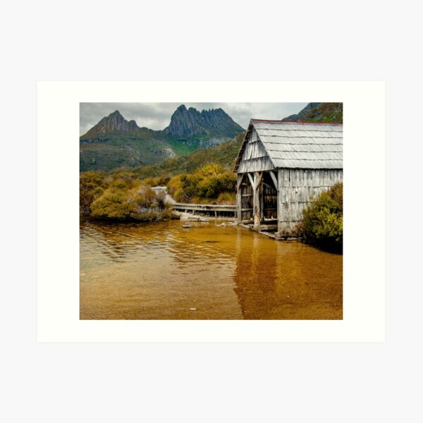 Cradle Mountain and Boatshed Art Print