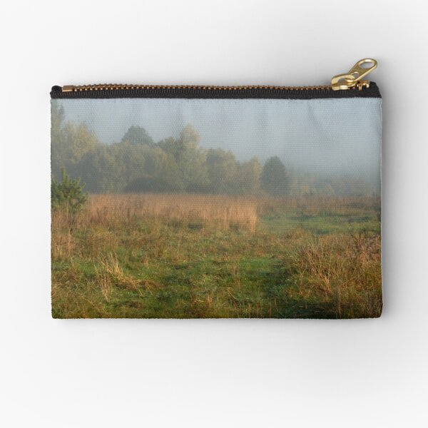 Rural pathway in foggy day at autumn  Zipper Pouch