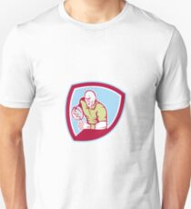 Rugby Player Running Charging Shield Cartoon Unisex T-Shirt