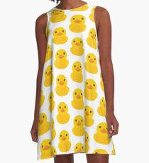 Emoji Rubber Duck Happy Smiling Face A-Line Dress